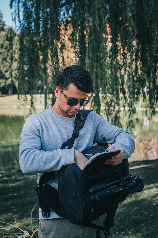 man wearing black bag