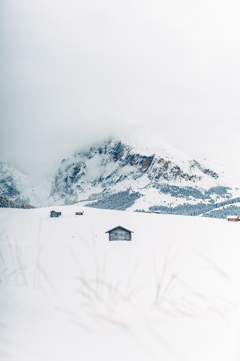 houses covered with snow near mountain