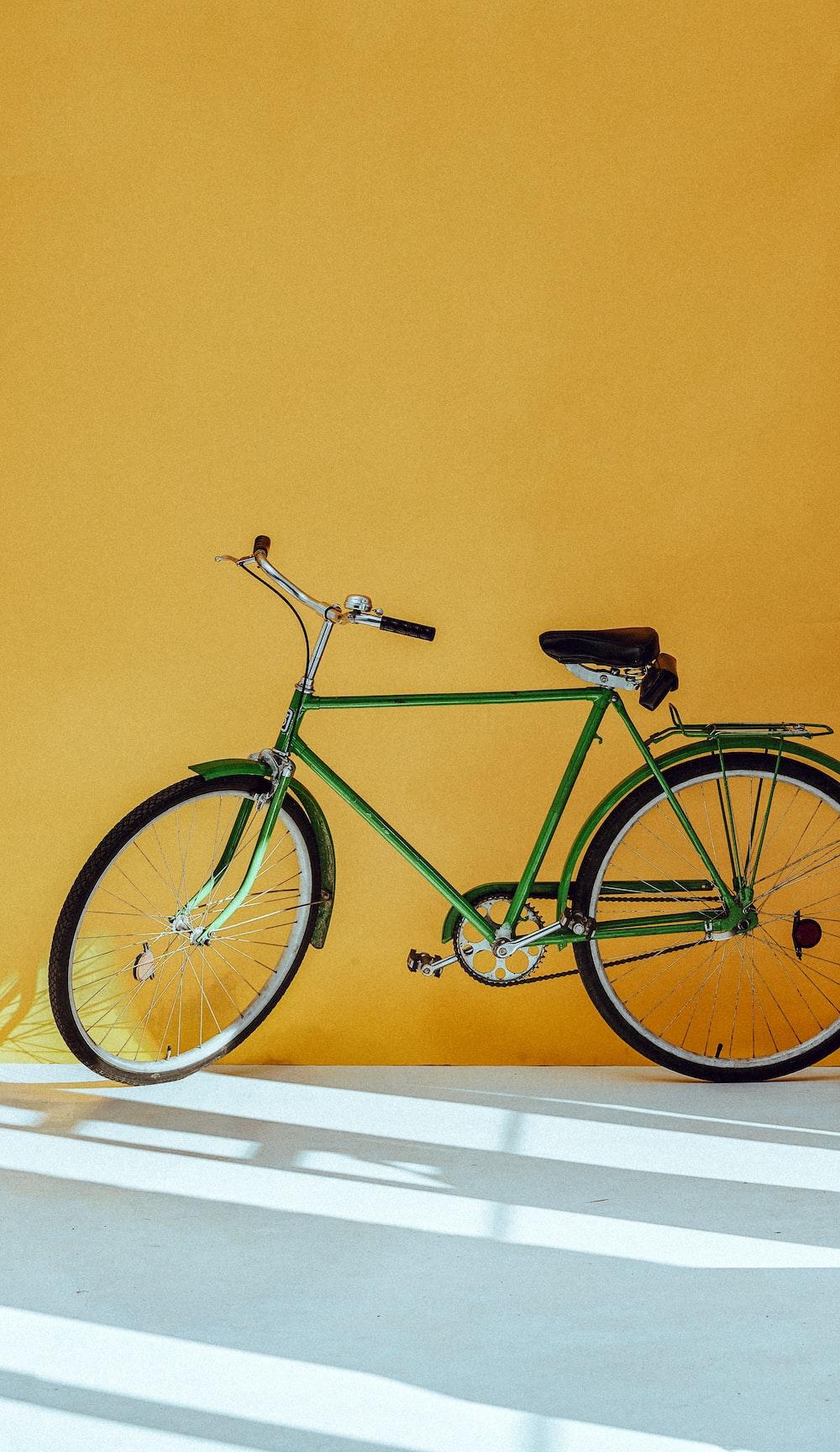 parked green bike