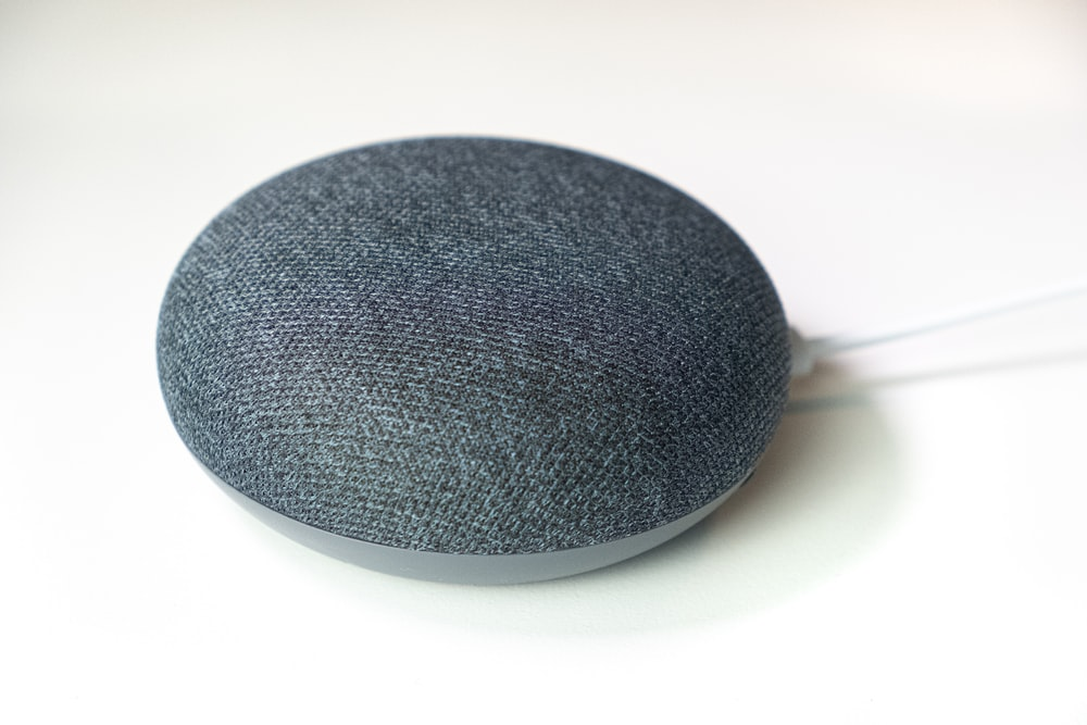 charcoal Google Home Mini speaker