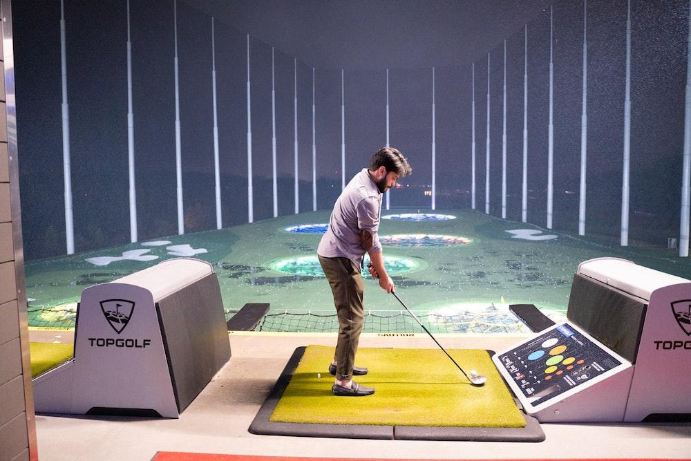 man playing top golf