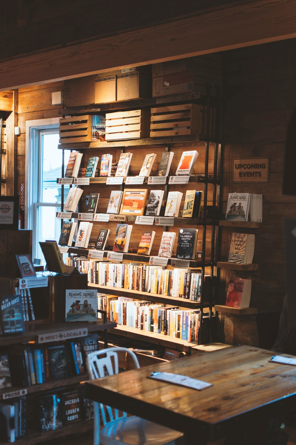 book display in dim room