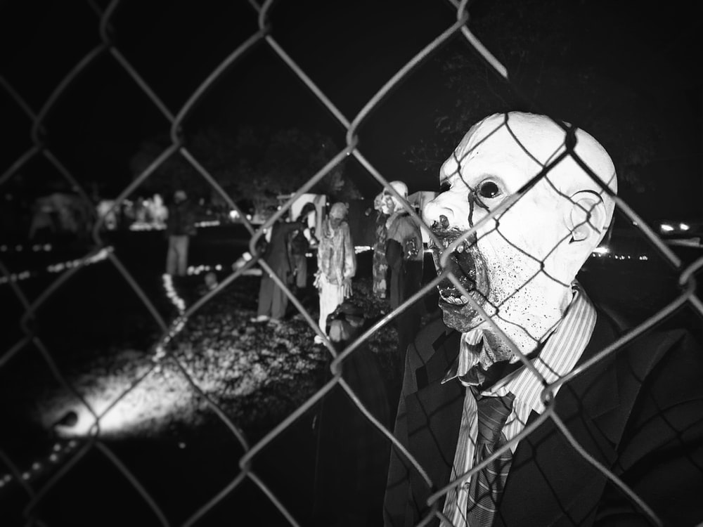 grayscale photography of zombie
