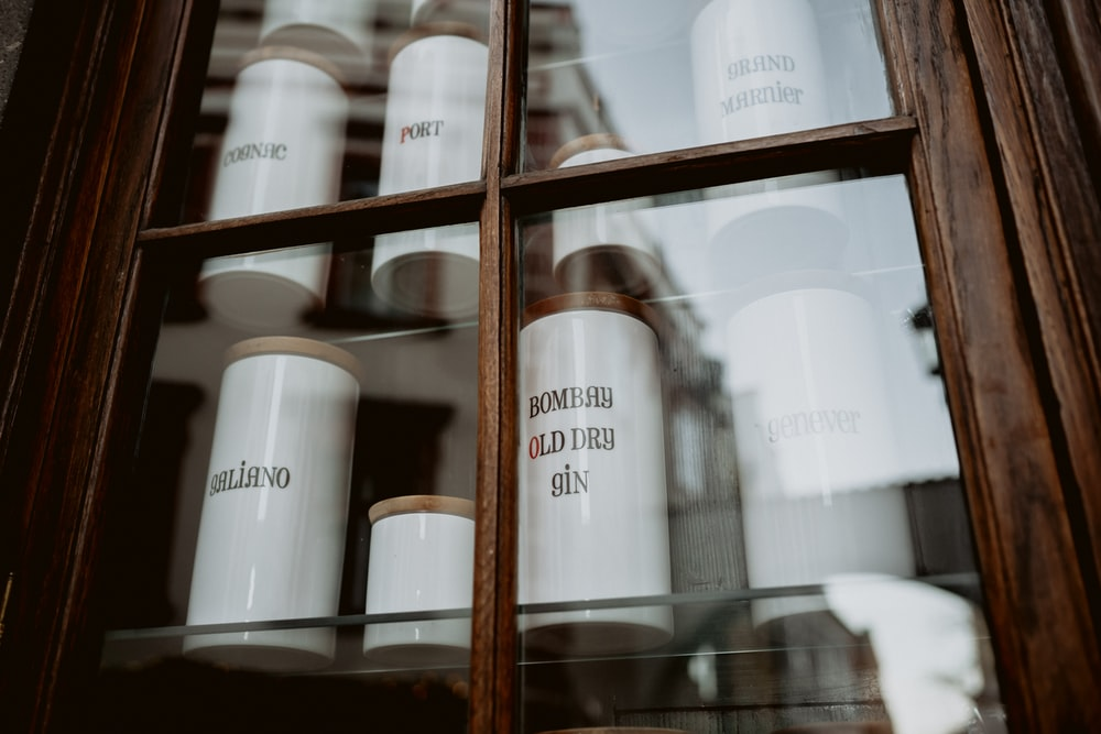 canisters inside the cabinet