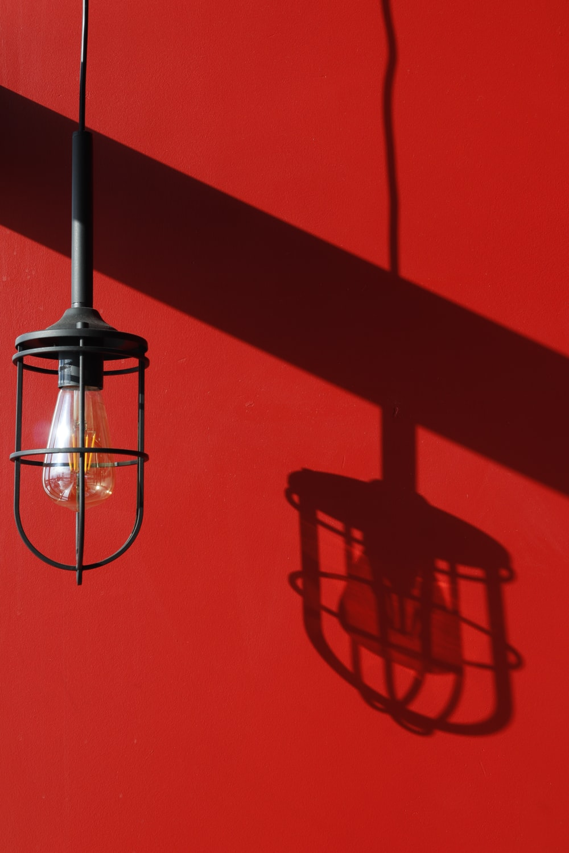 turned-off black pendant light