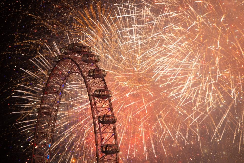 Ferris wheel and fireworks display