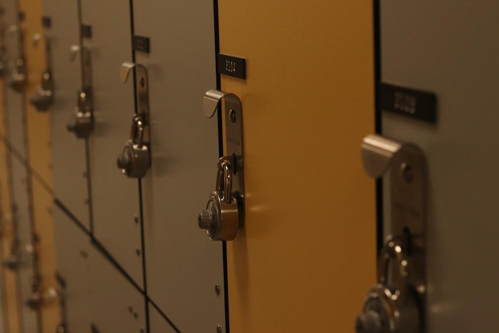 gray and yellow locker