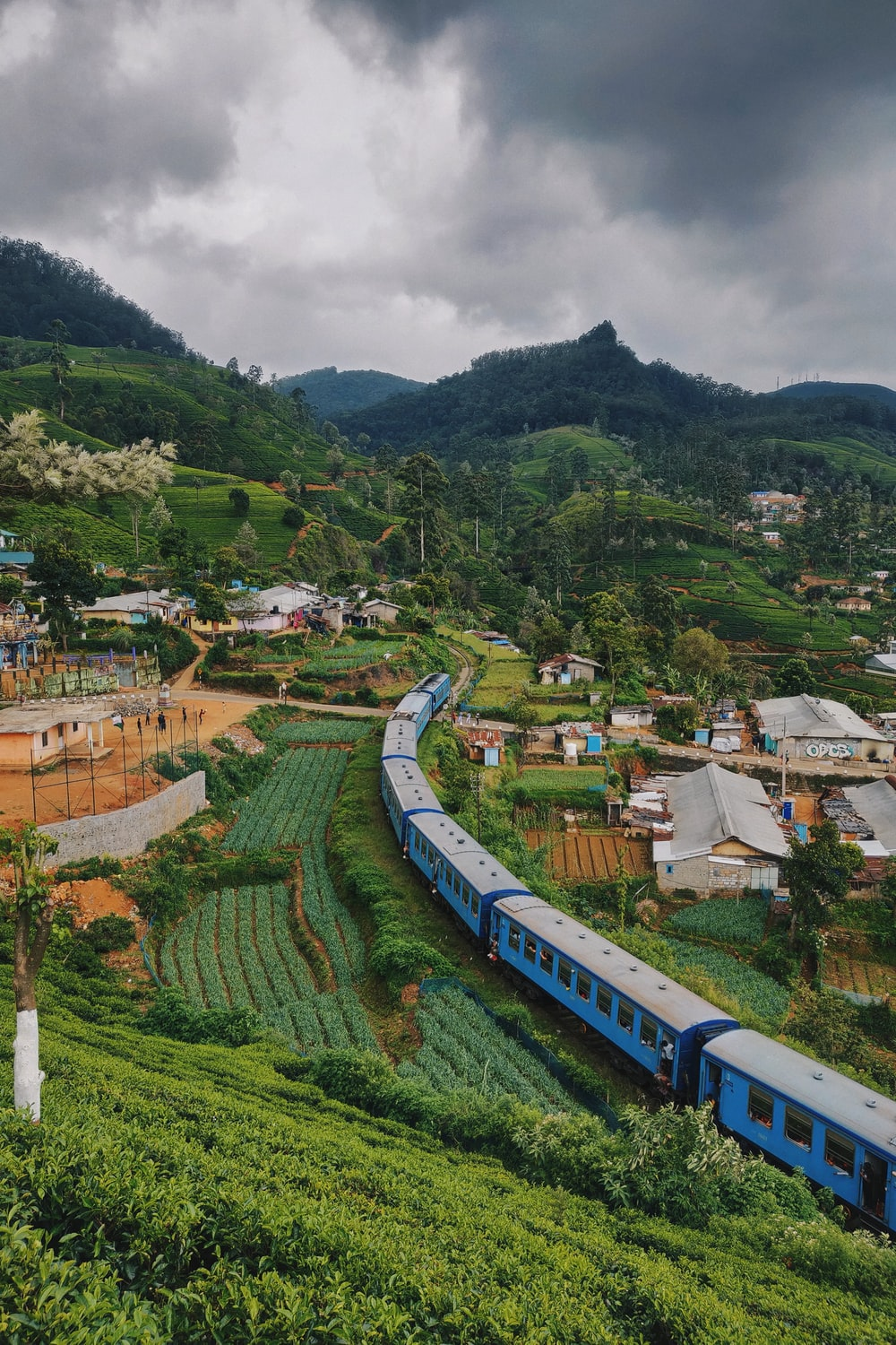 blue train travelling near houses