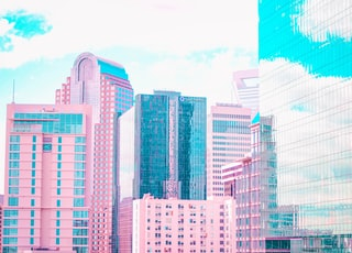 pink high-rise buildings