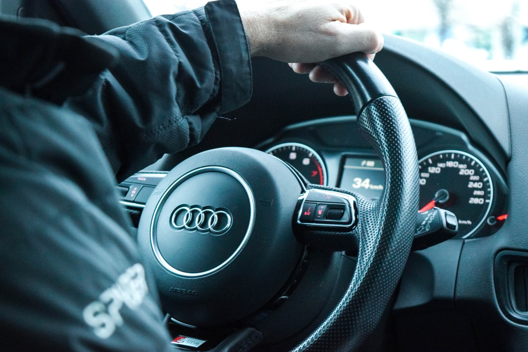 Driving the Audi on the way to the ski hill.