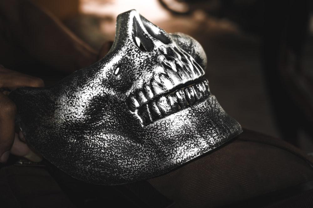 macro photography of silver skull decor