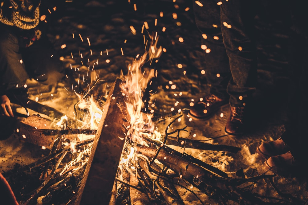 time-lapse photography of scorching bonfire flame