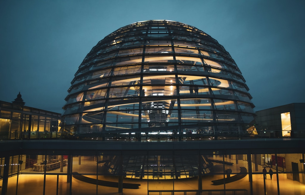 clear glass dome building