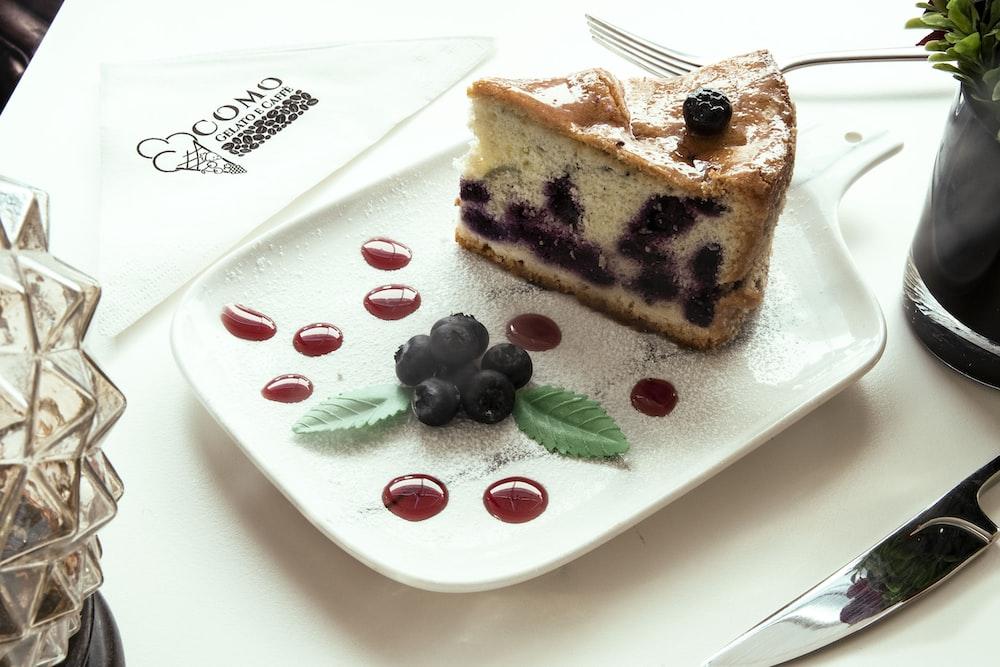 cake slice on white plate