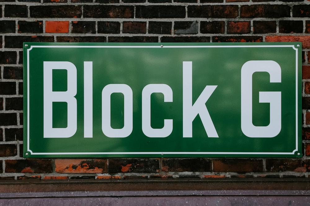 Block G sign on brick wall