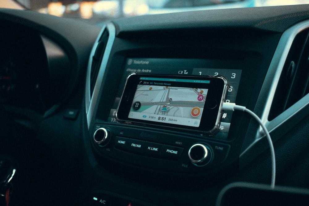 black smartphone displaying GPS