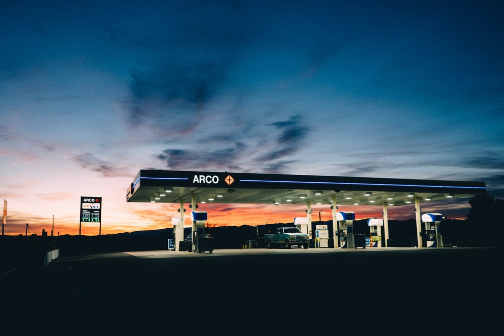 Arco gas station during golden hour