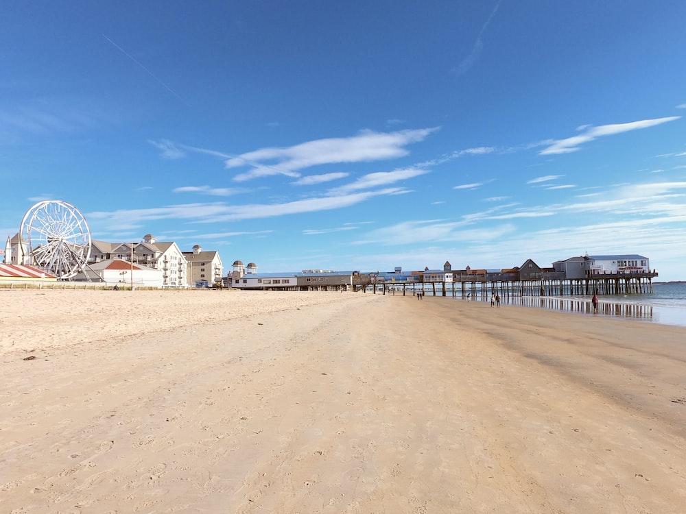 beach shore under blue sky
