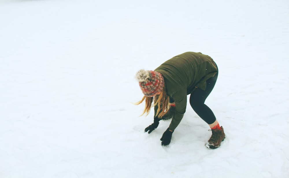 woman in snow field