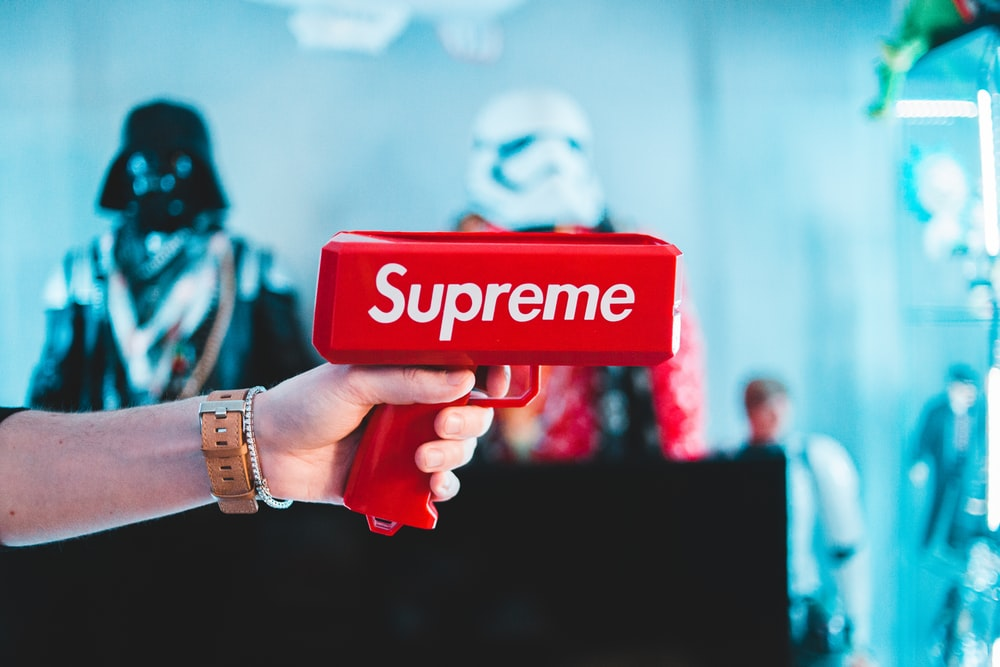 red Supreme money gun