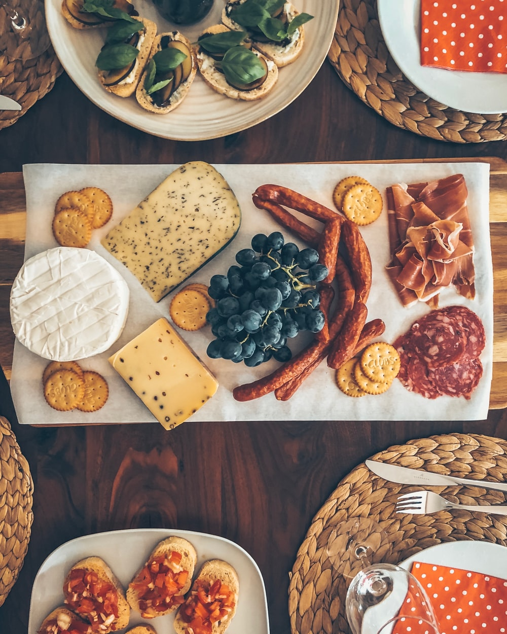 flat lay photography of food