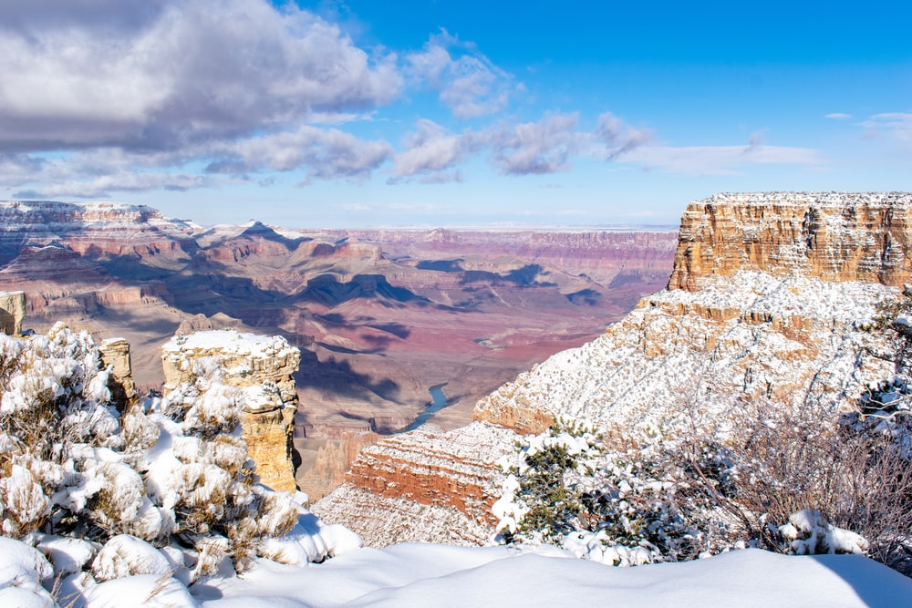 photography of snow-covered butte during daytime