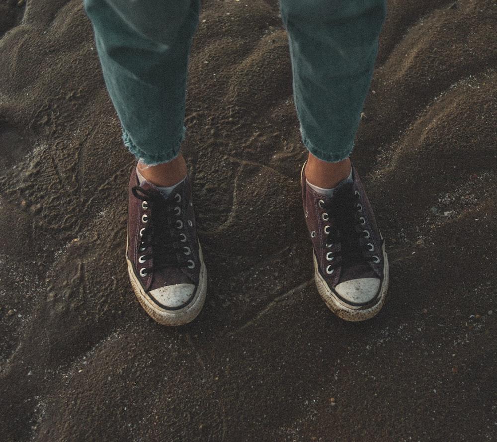 brown low-top sneakers