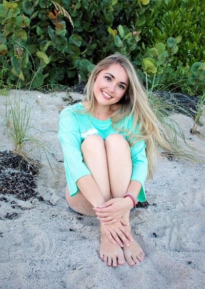 woman posing on the beach