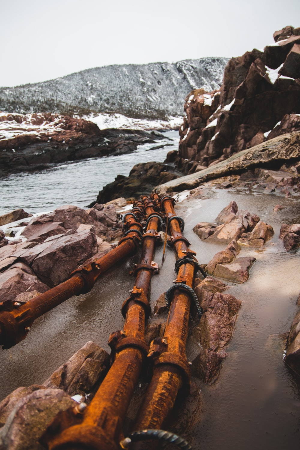 brown water pipes