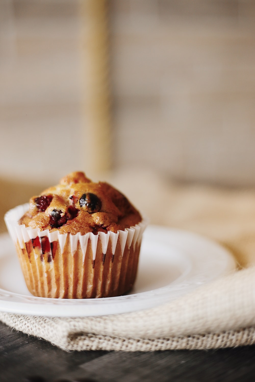 baked cupcake on plate