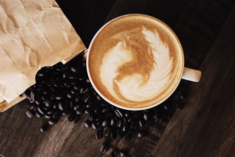 latte and coffee beans