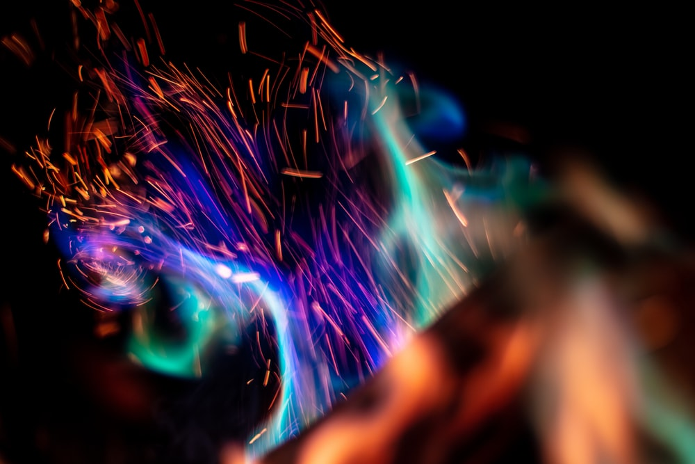 blue and green flame