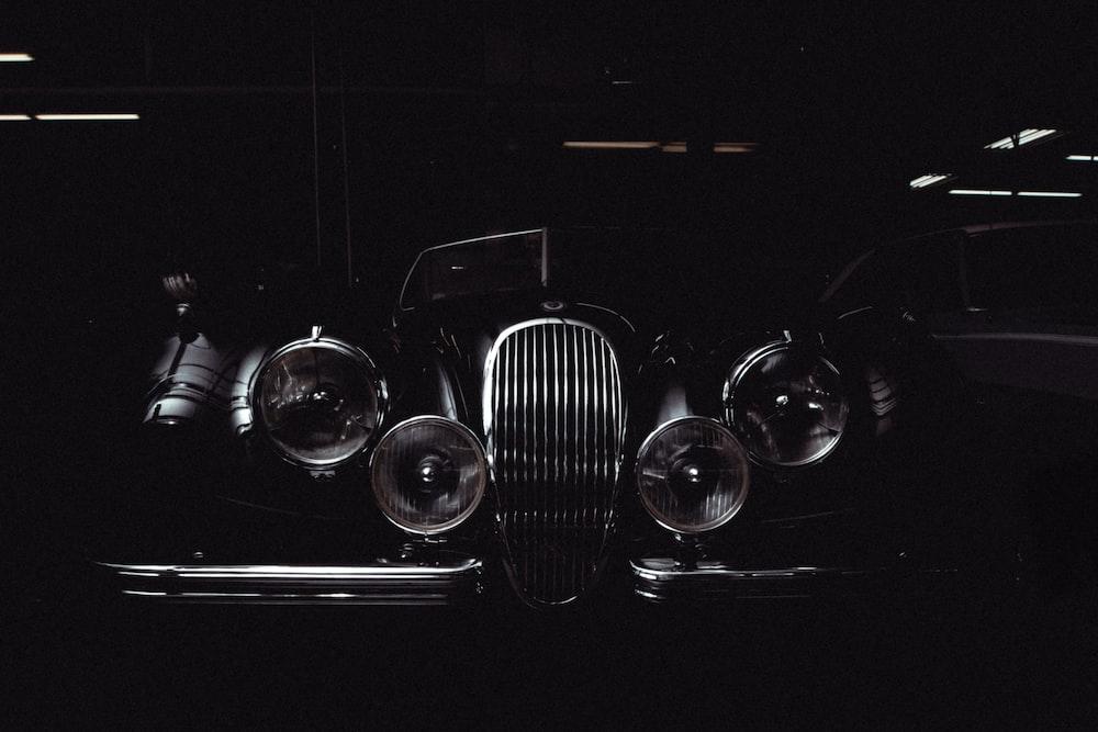 classic vehicle grayscale photo