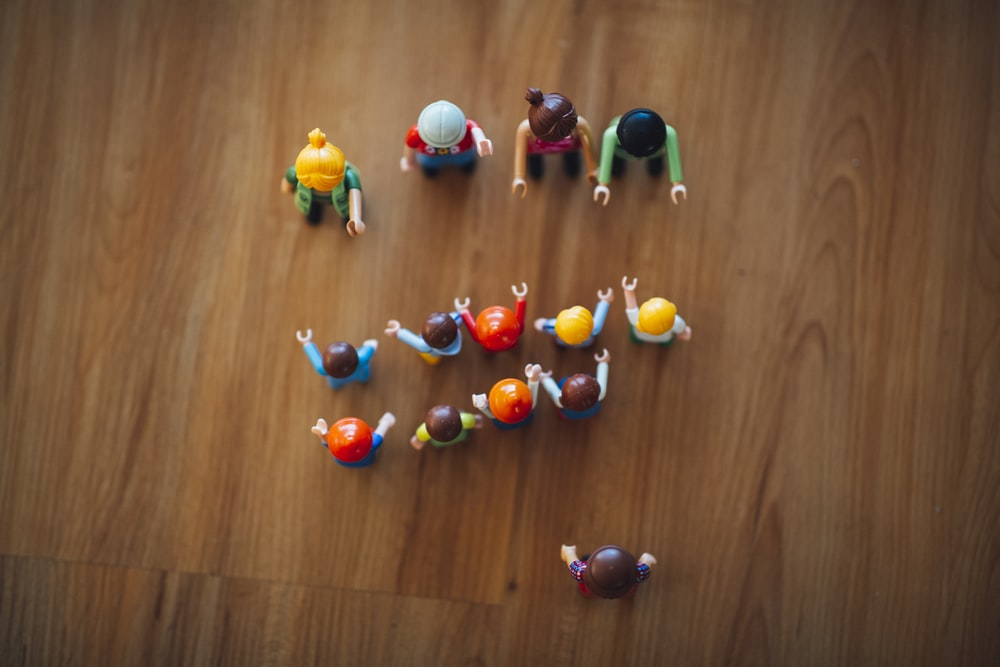 aerial view of assorted-color toys