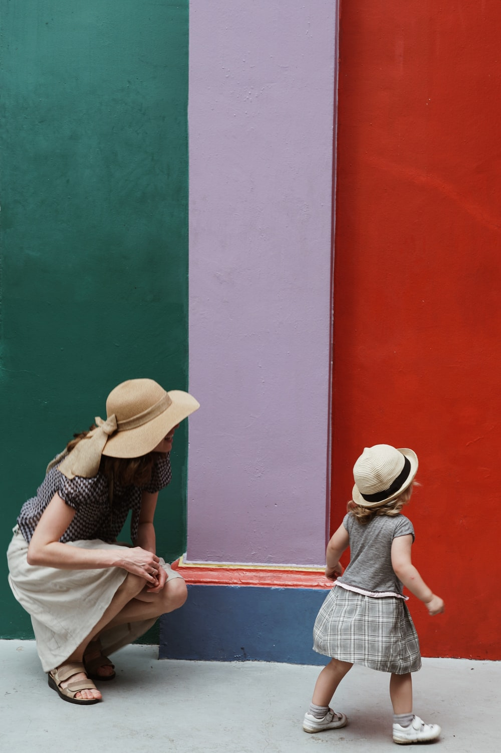 green, white, and red striped wall paint