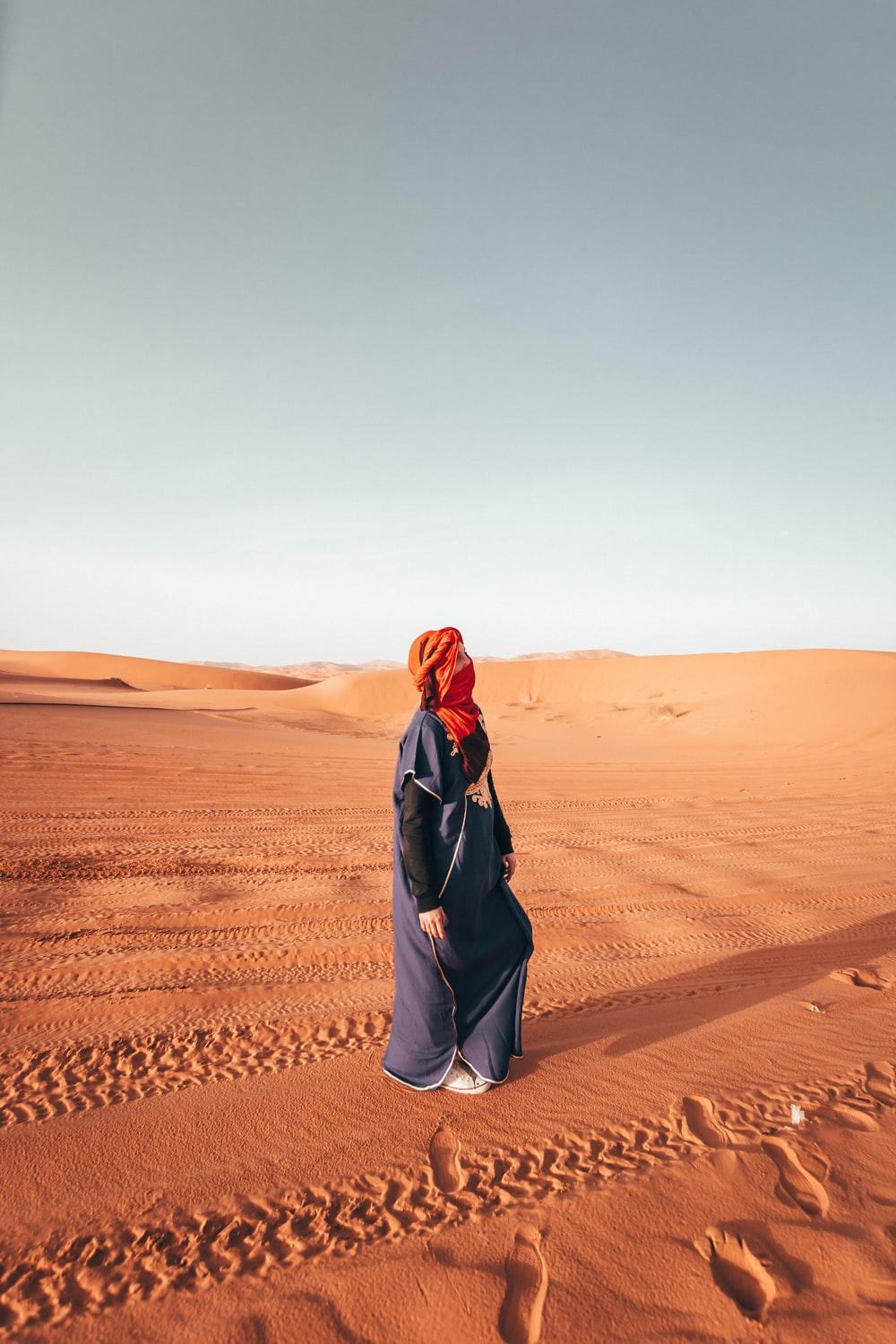 woman standing in the desert