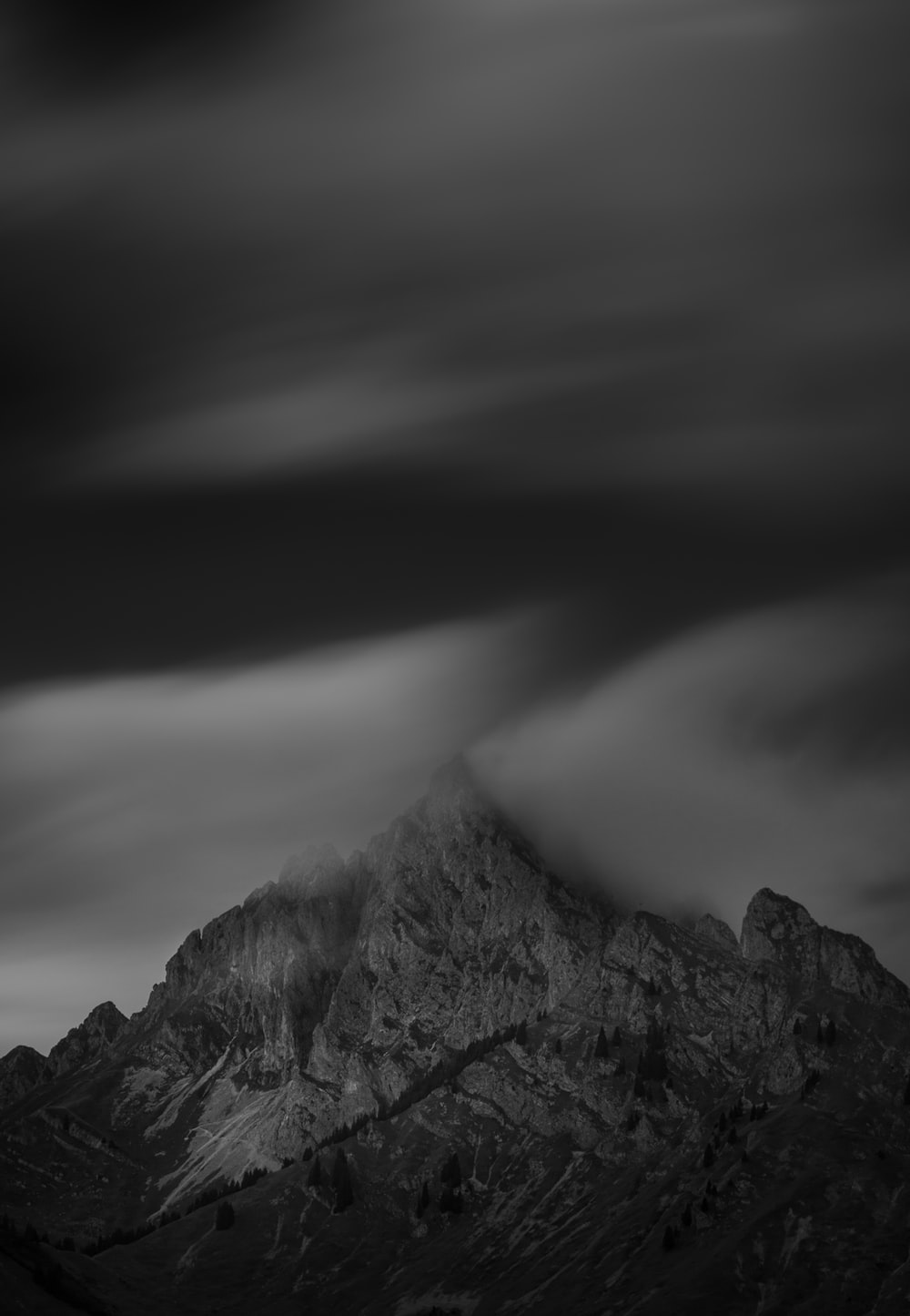 grayscale photo