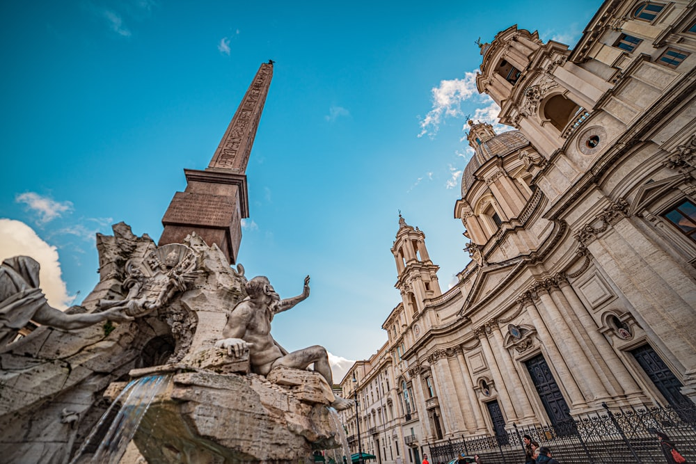 low-angle photography of Trevi Fountain
