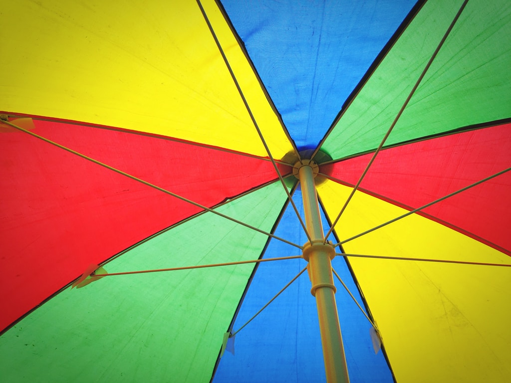 multicolored opened umbrella