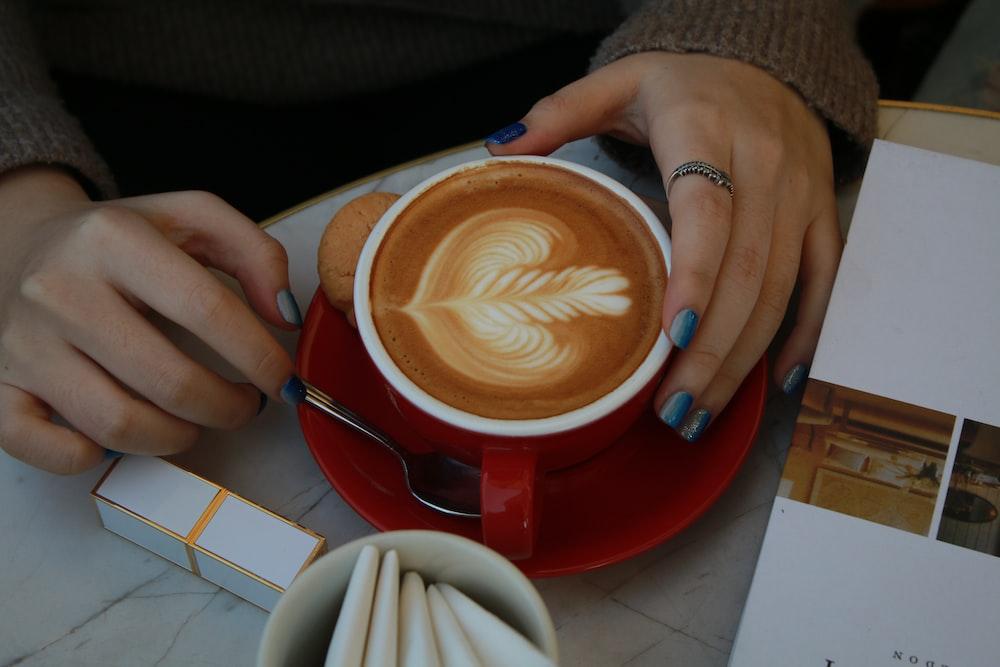 coffee mug with latte art