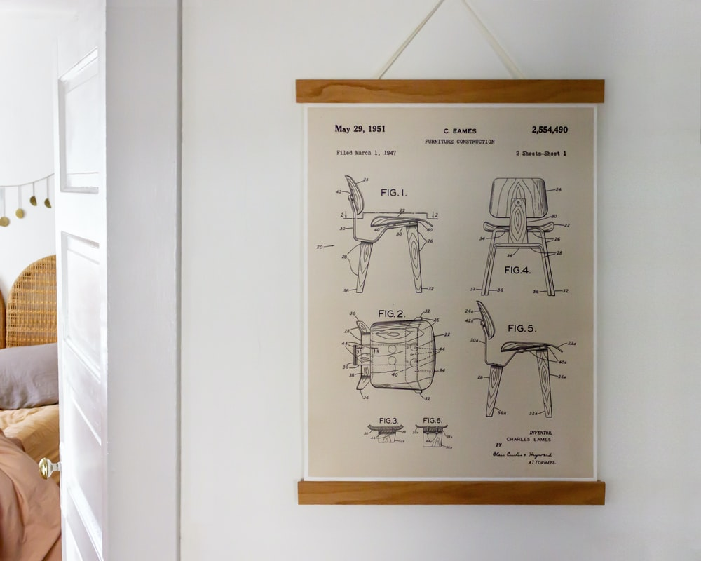 chair parts chart hanging on wall
