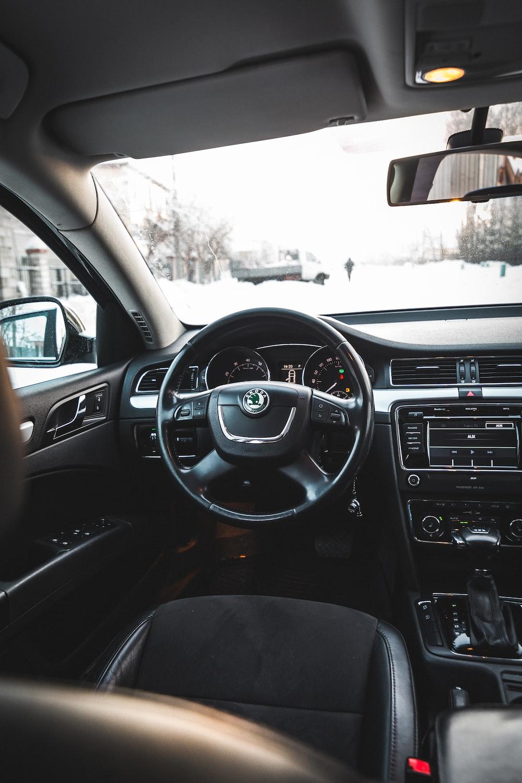 black Skoda car steering wheel