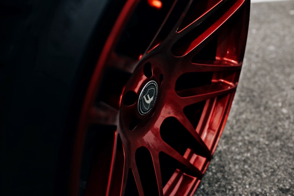 red car wheel with tire