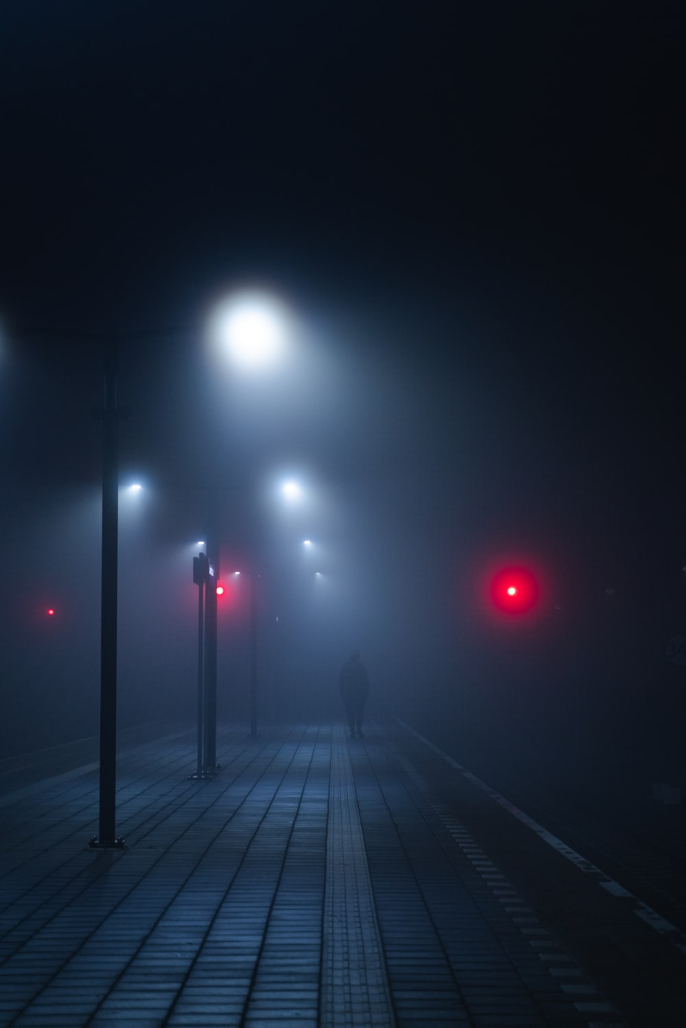 person standing near lampposts during night