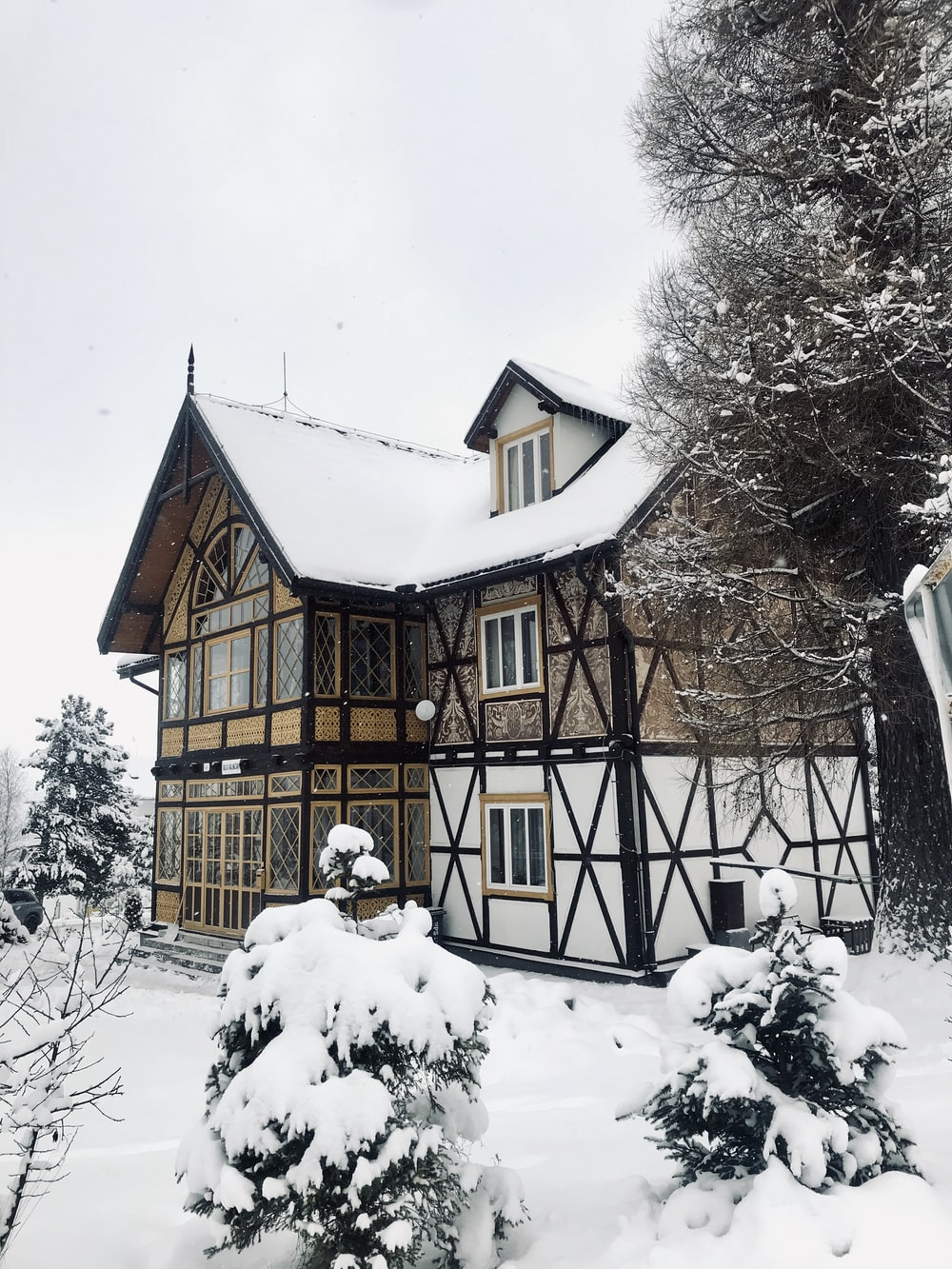 white and brown house beside tree during winter