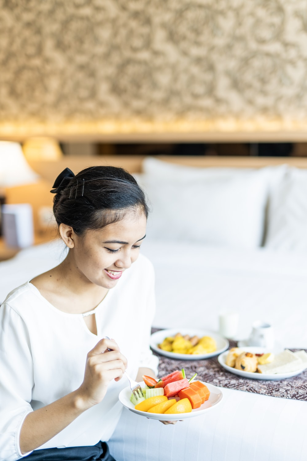 smiling woman ready to eat