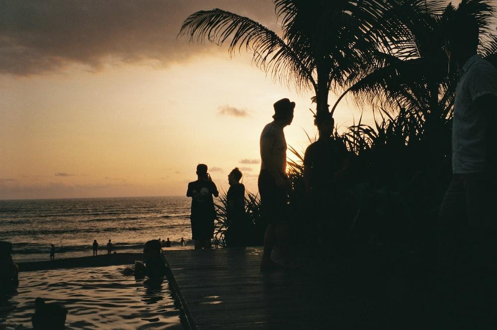 silhouette of people beside seashore