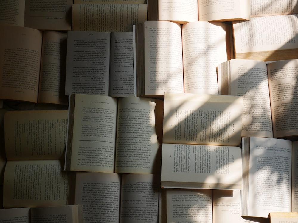 opened books on floor