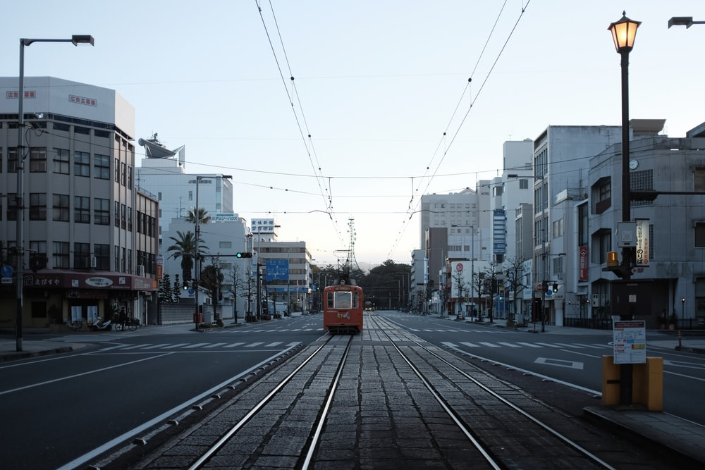 tram at the street under clear sky