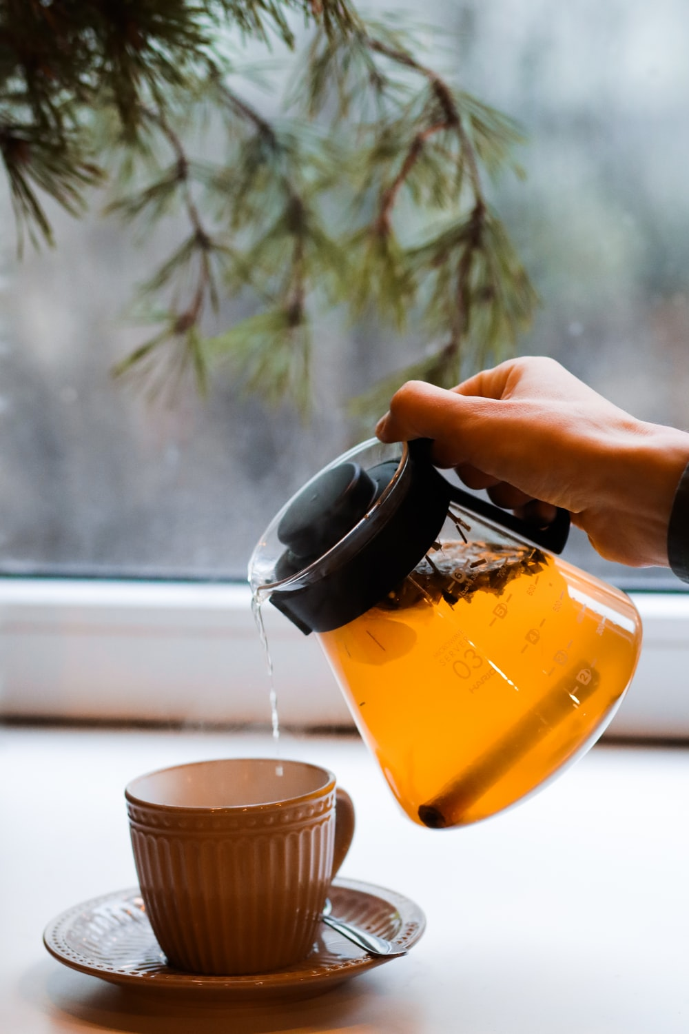tea poured on cup